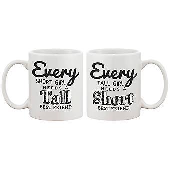Cute Coffee Mugs for Best Friends - Every Short Girl Needs a Tall Best Friend BFF Matching Mug