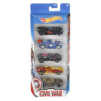 Hot Wheels Pack 5 Vehicles Captain America