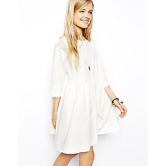 ASOS Denim Net Insert Smock Dress in Cream