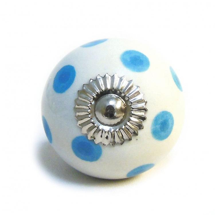 White / Blue Spots Ceramic Cupboard Knob