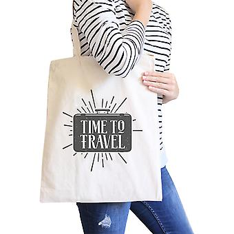 Time To Travel Natural Heavy Cotton Eco Friendly Reusable Tote Bag