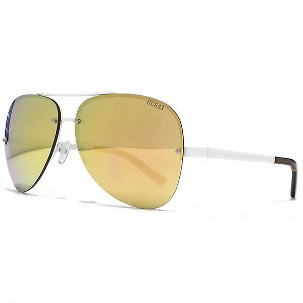 Guess Rimless Aviator Sunglasses In White