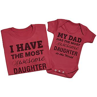 Most Awesome Daughter - Matching Father Baby Gift Set - Red