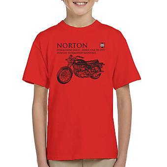 Haynes Besitzer Workshop manuelle Norton Commando 745CC 828CC Kinder T-Shirt