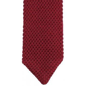 KJ Beckett Plain Wool Pointy Tie - Wine