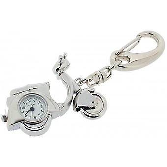 Gift Time Products Scooter Clock Key Ring - Silver