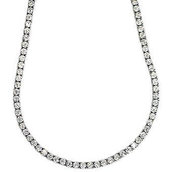 Tennis Necklace Platinum Plated CZ Round Cut 4mm