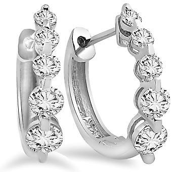 1ct Diamond Hoop Earrings 14K White Gold