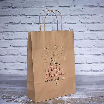 Christmas Vintage Style BROWN KRAFT Handled Have a Very Merry Christmas Paper Bags Set of 10