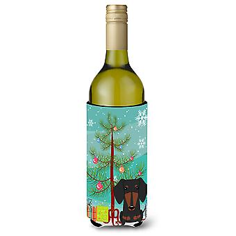 Merry Christmas Tree Dachshund Black Tan Wine Bottle Beverge Insulator Hugger