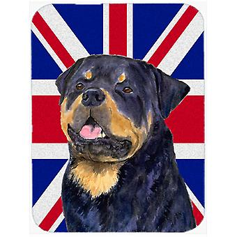Rottweiler with English Union Jack British Flag Glass Cutting Board Large Size