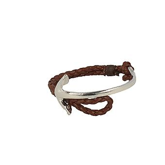 Baxter jewelry London jewellery half Bangle - half strap anchor silver leather strap dark brown Maritim 19 cm