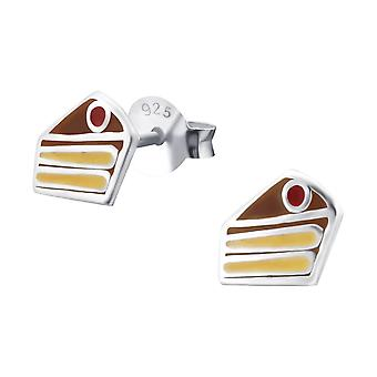 Cake - 925 Sterling Silver Colourful Ear Studs - W18731x