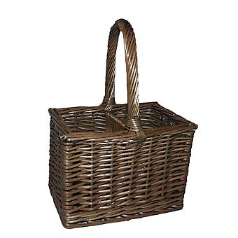 Wicker Willow Antique Wash 2 Bottle Wine Carrier