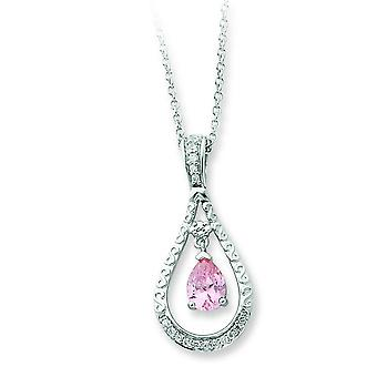 Sterling Silver October Cubic Zirconia Necklace - 18 Inch