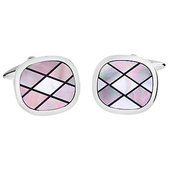 David Van Hagen Shiny Oval Smoked Mother of Pearl and Onyx Chequered Design Cufflinks - Pink/White/Silver