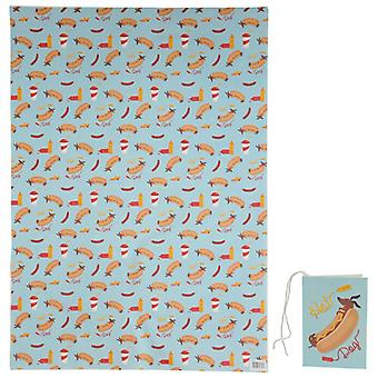 Funky Wrapping Paper Sheet and Gift Tag - Sausage Dog Fast Food
