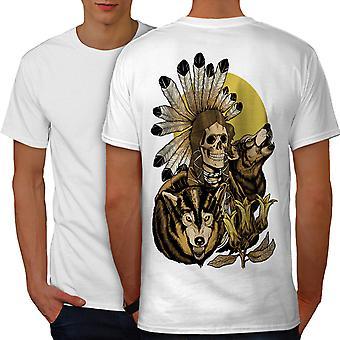 Nature Wolf Spirit Skull Men WhiteT-shirt Back | Wellcoda