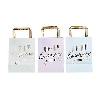 GOLD FOILED HIP HIP HOORAY PASTEL PARTY BAGS - PICK & MIX