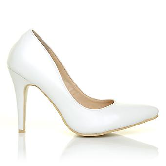 DARCY White PU Leather Stilleto High Heel Pointed Court Shoes