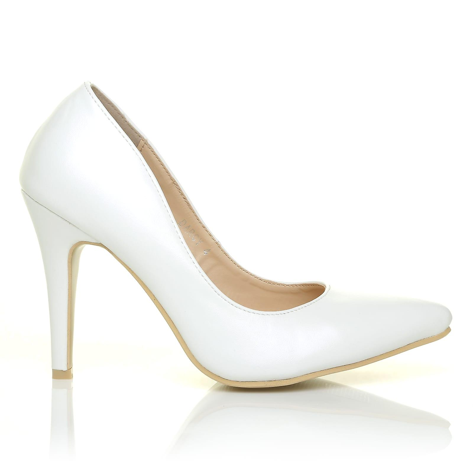 DARCY White PU Pointed Leather Stilleto High Heel Pointed PU Court Shoes 1293cf