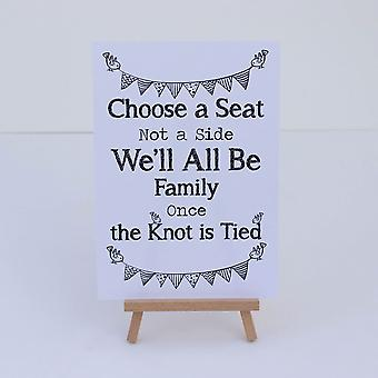 Church Wedding Ceremony White Sign 'Choose a Seat' Sign And Easel