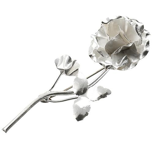 Rose Argent Broche