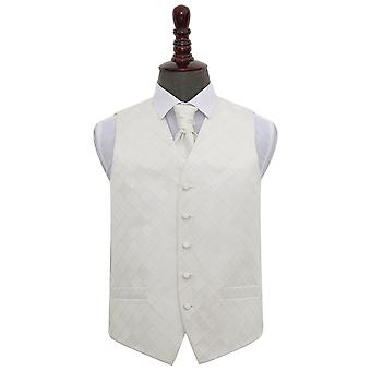Ivory Diamond Wedding Waistcoat & Cravat Set