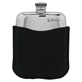 Plain Polished Pewter Purse Flask in Black Leather Pouch - 6oz