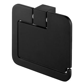 Toilet Paper Rack Roll Holder with Flap Modern WC Black Powder Coated Zamak