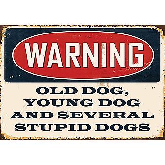 AVERTISSEMENT vieux chien, jeune chien métal signe 200 X 140 Mm