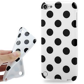 Handyhülle Design Punkte für Apple iPod Touch 5 weiß/schwarz