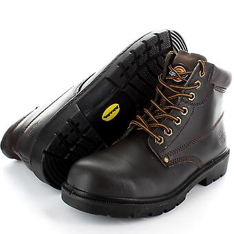 Dickies Mens Leather Antrim Work Safety Steel Toe Cap Boots Black,Brown