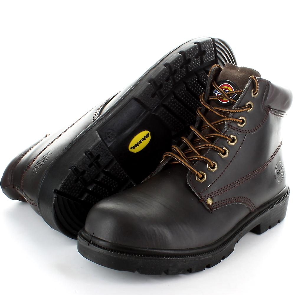 Dickies Mens Leather Antrim Work Safety Steel Toe Cap Boots Black,Brown