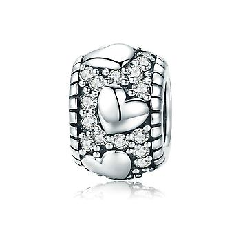 Sterling silver charm Dazzling heart