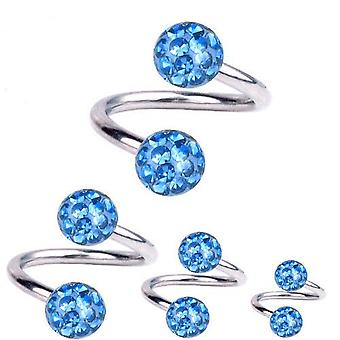 Spiral Twist Piercing Titanium 1,2 mm, Multi Crystal Ball Light Blue | 6 - 12 mm