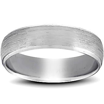 Platinum Wedding Band Mens Brushed Beveled Ring 6mm Polished Edges