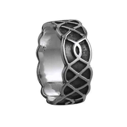 Silver oxidized 8mm Celtic Wedding Ring