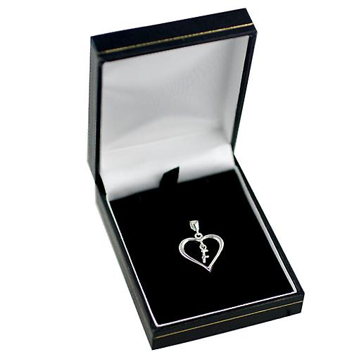 sterling Silver heart with a hanging Initial F