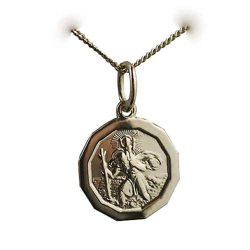 18ct Yellow Gold 13x13mm plain dodecagonal St Christopher Pendant with a curb chain