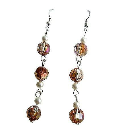Sexy Stunning Swarovski Copper Crystals Chandelier Dangling Earrings