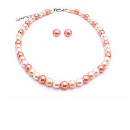 Fascinate Jewelry Peach Ivory Tangerine Pearls Prom Custom Jewelry Set