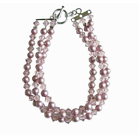 Powder Rose Pearls w/ Lite Amethyst Crystals Three Stranded Bracelet