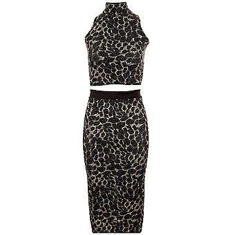 Damen Glitter Lurex Leopard Rollkragen oberen Bodycon Midi Pencil Skirt Womens Set