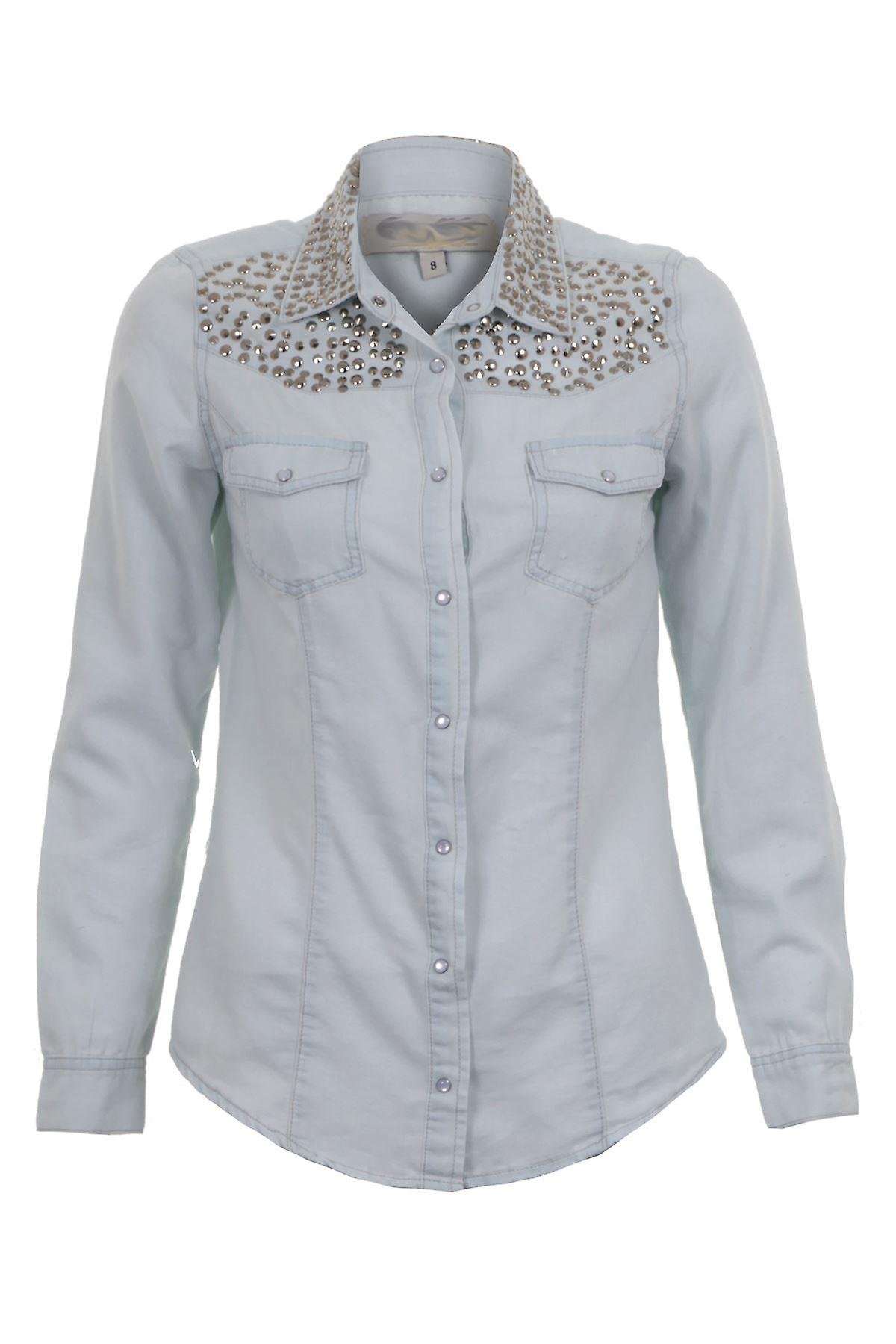 New Ladies Long Sleeve Studded Shirt Bleach Effect Women's Blouse