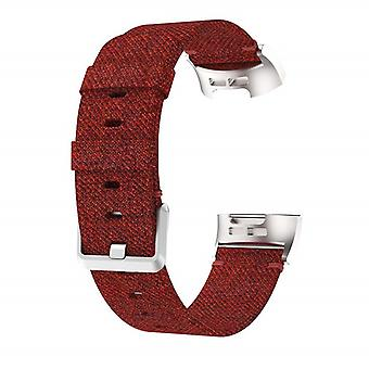 Bracelet compatible with Fitbit Charge 3 in Nylon-Red