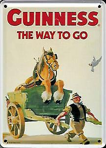 Guinness Horse & Cart metal postcard / mini sign