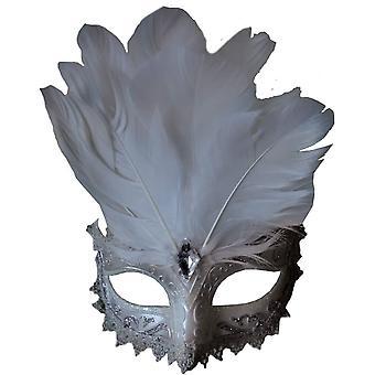 Carnivale occhio maschera bianca Silve per Masquerade
