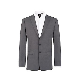 Dobell Mens Grey Sharkskin Suit Jacket Slim Fit Notch Lapel