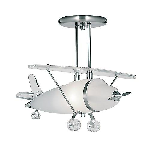 Searchlight 737 Novelty Satin Silver Airplane Light With Frosted Glass